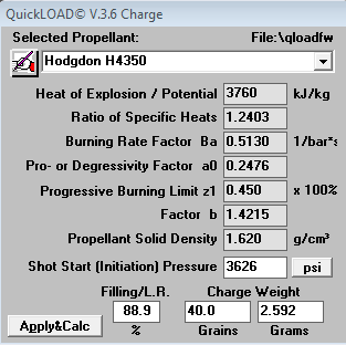 QuickLOAD parameters for H4350