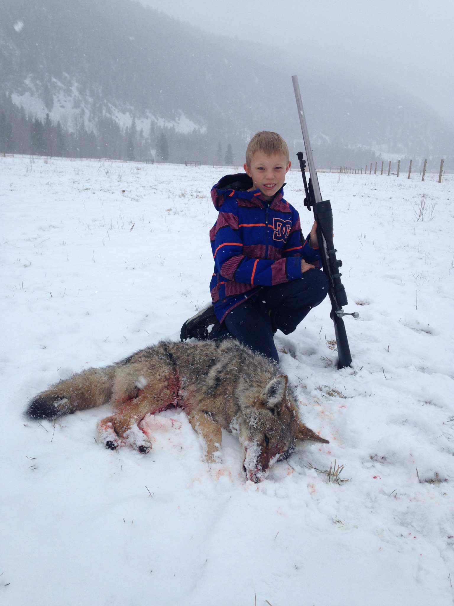 Name:  Hunter's first Coyote.JPG Views: 244 Size:  561.7 KB