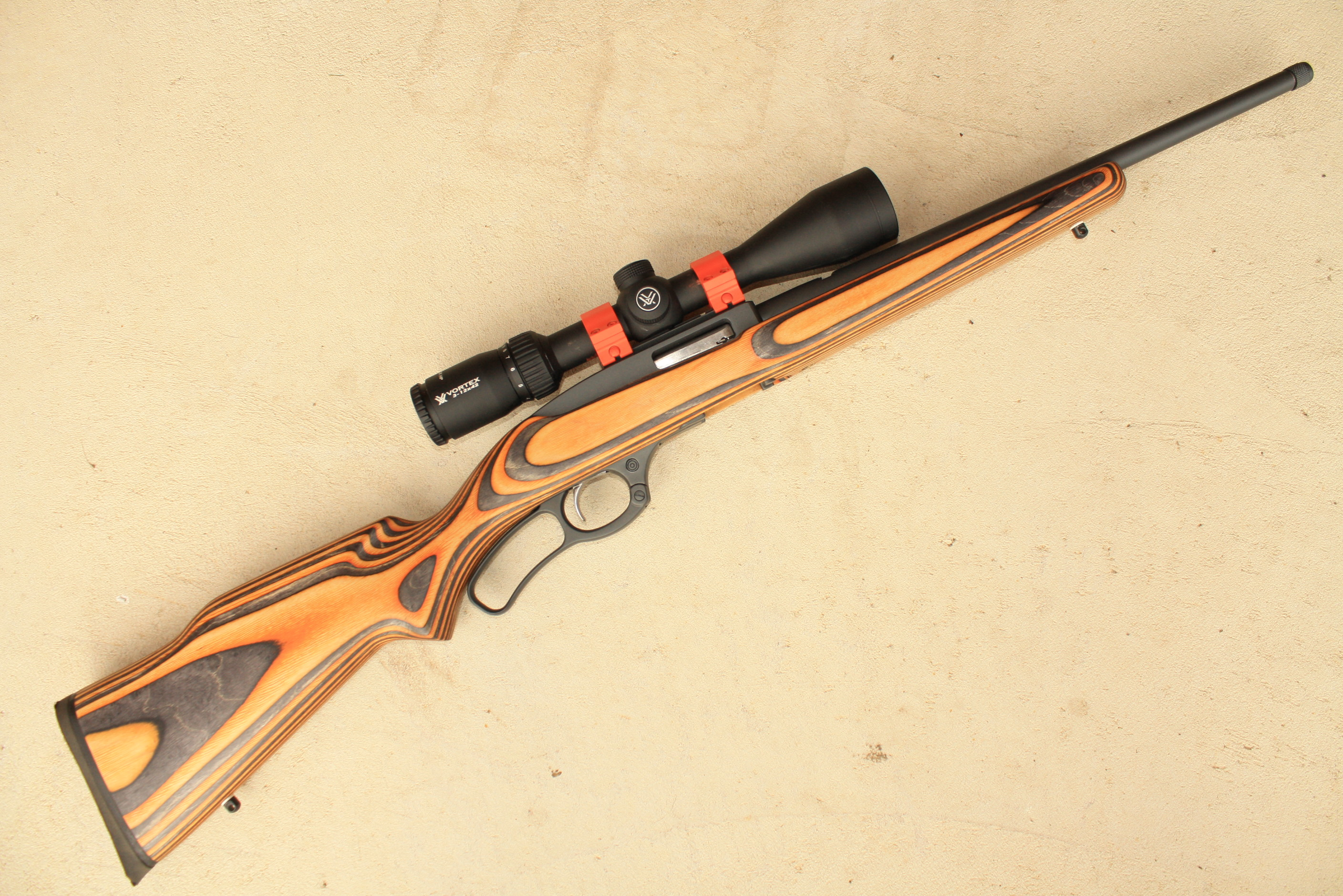 Name:  Ruger 9622 LR Boyds Rimfire Hunter Orange Laminate Stock Vortex DiamondBack HP 3-12x42 MAE Suppr.JPG